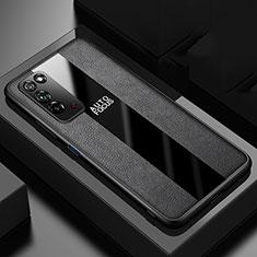Funda Silicona Goma de Cuero Carcasa H01 para Huawei Honor X10 5G Negro