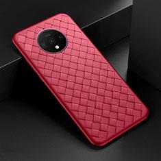 Funda Silicona Goma de Cuero Carcasa H01 para OnePlus 7T Rojo