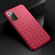 Funda Silicona Goma de Cuero Carcasa H01 para Samsung Galaxy Note 20 5G Rojo