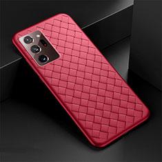 Funda Silicona Goma de Cuero Carcasa H01 para Samsung Galaxy Note 20 Ultra 5G Rojo