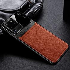 Funda Silicona Goma de Cuero Carcasa H01 para Samsung Galaxy S20 Ultra 5G Marron