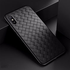 Funda Silicona Goma de Cuero Carcasa H01 para Xiaomi Redmi 9i Negro