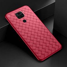 Funda Silicona Goma de Cuero Carcasa H01 para Xiaomi Redmi Note 9 Rojo
