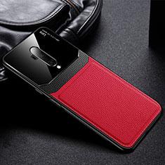 Funda Silicona Goma de Cuero Carcasa H02 para OnePlus 7T Pro Rojo