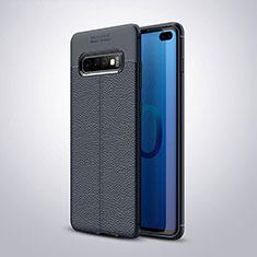 Funda Silicona Goma de Cuero Carcasa H02 para Samsung Galaxy S10 Plus Azul