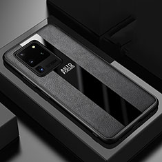 Funda Silicona Goma de Cuero Carcasa H02 para Samsung Galaxy S20 Ultra Negro