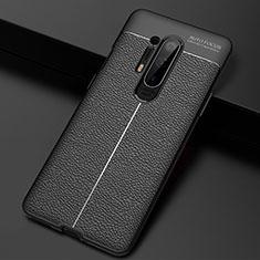 Funda Silicona Goma de Cuero Carcasa H03 para OnePlus 8 Pro Negro