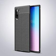 Funda Silicona Goma de Cuero Carcasa H03 para Samsung Galaxy Note 10 5G Negro