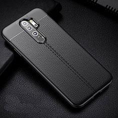 Funda Silicona Goma de Cuero Carcasa H03 para Xiaomi Redmi Note 8 Pro Negro