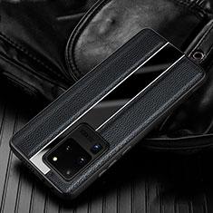 Funda Silicona Goma de Cuero Carcasa H04 para Samsung Galaxy S20 Ultra Negro