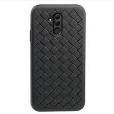 Funda Silicona Goma de Cuero Carcasa H05 para Huawei Mate 20 Lite Negro
