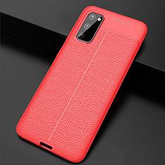 Funda Silicona Goma de Cuero Carcasa H05 para Samsung Galaxy S20 5G Rojo