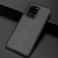 Funda Silicona Goma de Cuero Carcasa H06 para Samsung Galaxy S20 Ultra Negro