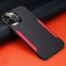 Funda Silicona Goma de Cuero Carcasa N01 para Apple iPhone 12 Pro Max Negro
