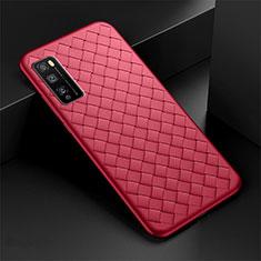Funda Silicona Goma de Cuero Carcasa para Huawei Enjoy Z 5G Rojo