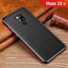 Funda Silicona Goma de Cuero Carcasa para Huawei Mate 20 X Negro