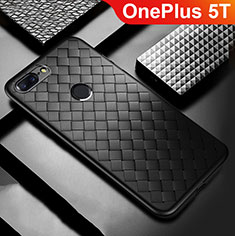 Funda Silicona Goma de Cuero Carcasa para OnePlus 5T A5010 Negro