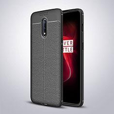 Funda Silicona Goma de Cuero Carcasa para OnePlus 7 Negro