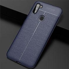 Funda Silicona Goma de Cuero Carcasa para Samsung Galaxy A11 Azul