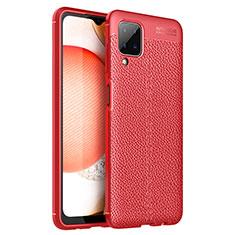 Funda Silicona Goma de Cuero Carcasa para Samsung Galaxy A12 Rojo