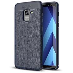 Funda Silicona Goma de Cuero Carcasa para Samsung Galaxy A5 (2018) A530F Azul