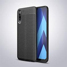 Funda Silicona Goma de Cuero Carcasa para Samsung Galaxy A50 Negro
