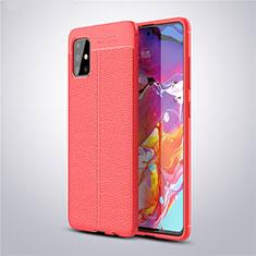 Funda Silicona Goma de Cuero Carcasa para Samsung Galaxy A51 5G Rojo