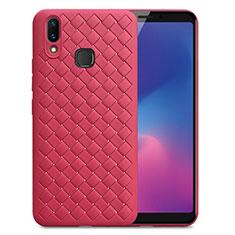 Funda Silicona Goma de Cuero Carcasa para Samsung Galaxy A6s Rojo
