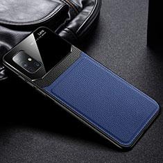 Funda Silicona Goma de Cuero Carcasa para Samsung Galaxy A71 5G Azul