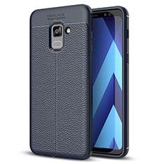 Funda Silicona Goma de Cuero Carcasa para Samsung Galaxy A8+ A8 Plus (2018) Duos A730F Azul
