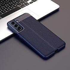 Funda Silicona Goma de Cuero Carcasa para Samsung Galaxy S21 Plus 5G Azul Real