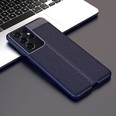 Funda Silicona Goma de Cuero Carcasa para Samsung Galaxy S21 Ultra 5G Azul