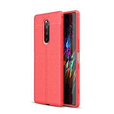 Funda Silicona Goma de Cuero Carcasa para Sony Xperia 1 Rojo