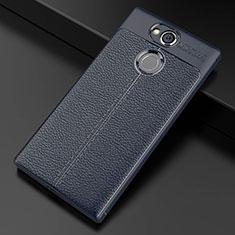 Funda Silicona Goma de Cuero Carcasa para Sony Xperia XA2 Azul