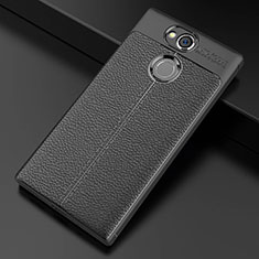 Funda Silicona Goma de Cuero Carcasa para Sony Xperia XA2 Negro