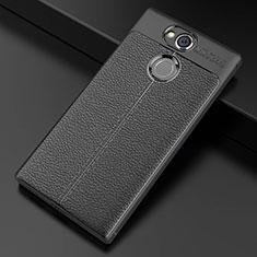 Funda Silicona Goma de Cuero Carcasa para Sony Xperia XA2 Plus Negro