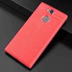 Funda Silicona Goma de Cuero Carcasa para Sony Xperia XA2 Rojo