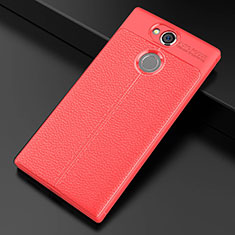 Funda Silicona Goma de Cuero Carcasa para Sony Xperia XA2 Ultra Rojo