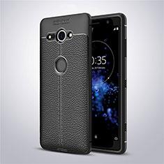 Funda Silicona Goma de Cuero Carcasa para Sony Xperia XZ2 Compact Negro
