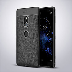 Funda Silicona Goma de Cuero Carcasa para Sony Xperia XZ2 Negro