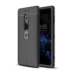 Funda Silicona Goma de Cuero Carcasa para Sony Xperia XZ2 Premium Negro
