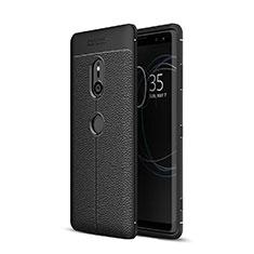 Funda Silicona Goma de Cuero Carcasa para Sony Xperia XZ3 Negro