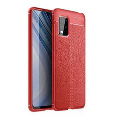 Funda Silicona Goma de Cuero Carcasa para Xiaomi Mi 10 Lite Rojo