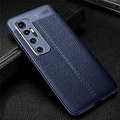 Funda Silicona Goma de Cuero Carcasa para Xiaomi Mi 10 Ultra Azul