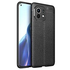 Funda Silicona Goma de Cuero Carcasa para Xiaomi Mi 11 5G Negro