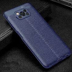 Funda Silicona Goma de Cuero Carcasa para Xiaomi Poco X3 NFC Azul