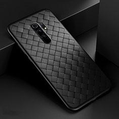 Funda Silicona Goma de Cuero Carcasa para Xiaomi Redmi 9 Prime India Negro