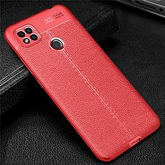 Funda Silicona Goma de Cuero Carcasa para Xiaomi Redmi 9C Rojo
