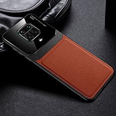 Funda Silicona Goma de Cuero Carcasa para Xiaomi Redmi Note 9S Marron