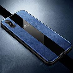Funda Silicona Goma de Cuero Carcasa S01 para Huawei Enjoy 10e Azul